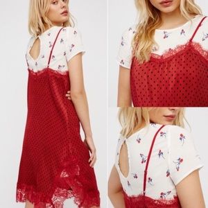 Free People Red Combo Dress Set